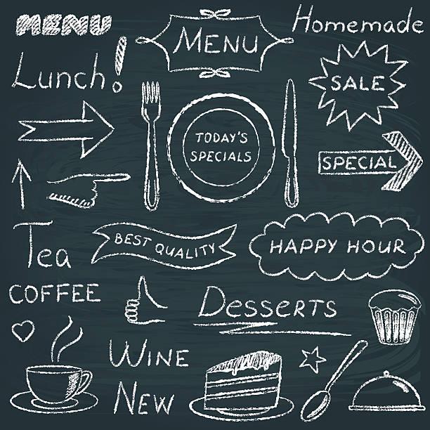 ilustraciones, imágenes clip art, dibujos animados e iconos de stock de conjunto de elementos de diseño de menú de restaurante - comida casera