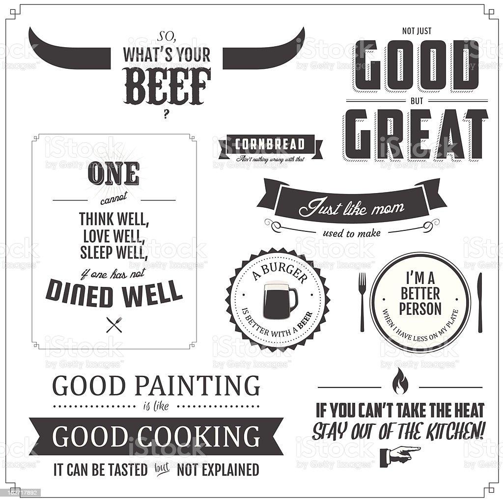 Set of restaurant menu typographic design elements vector art illustration