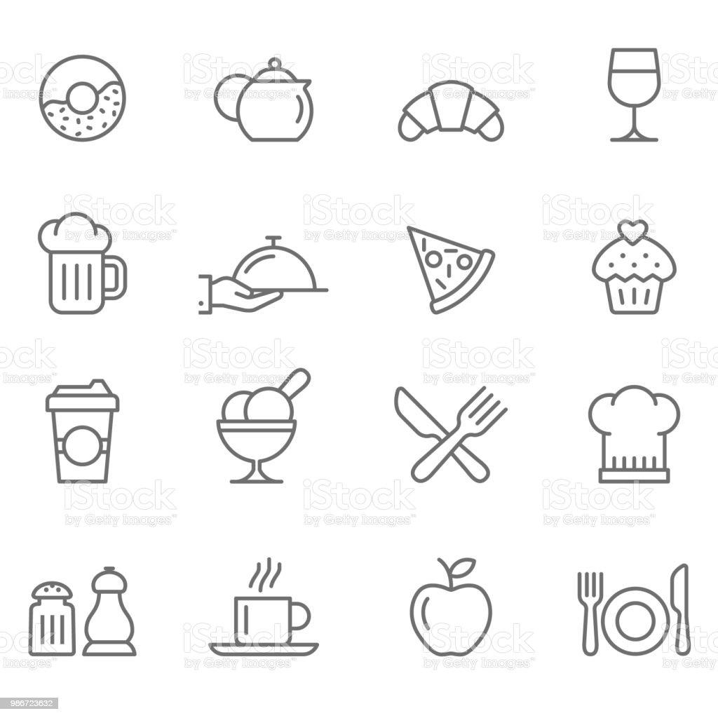 Ensemble d'icônes de Restaurants - Illustration vectorielle