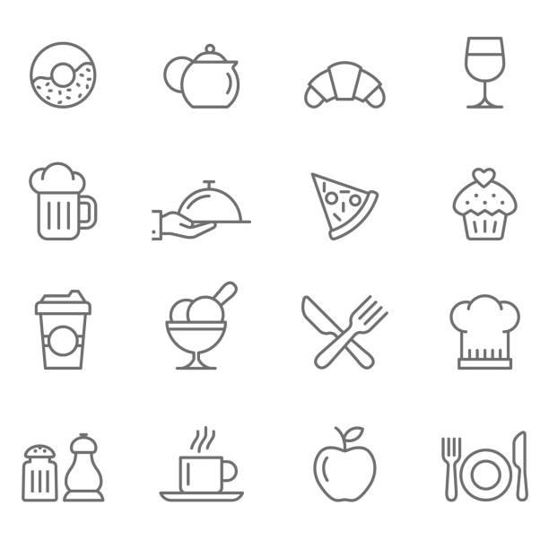 ilustraciones, imágenes clip art, dibujos animados e iconos de stock de conjunto de iconos de restaurantes - comida francesa