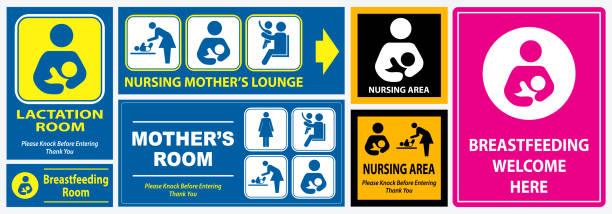 set of restroom, nursing room, lactation room placard sign set of restroom, nursing room, lactation room placard sign. easy to modify domestic room stock illustrations