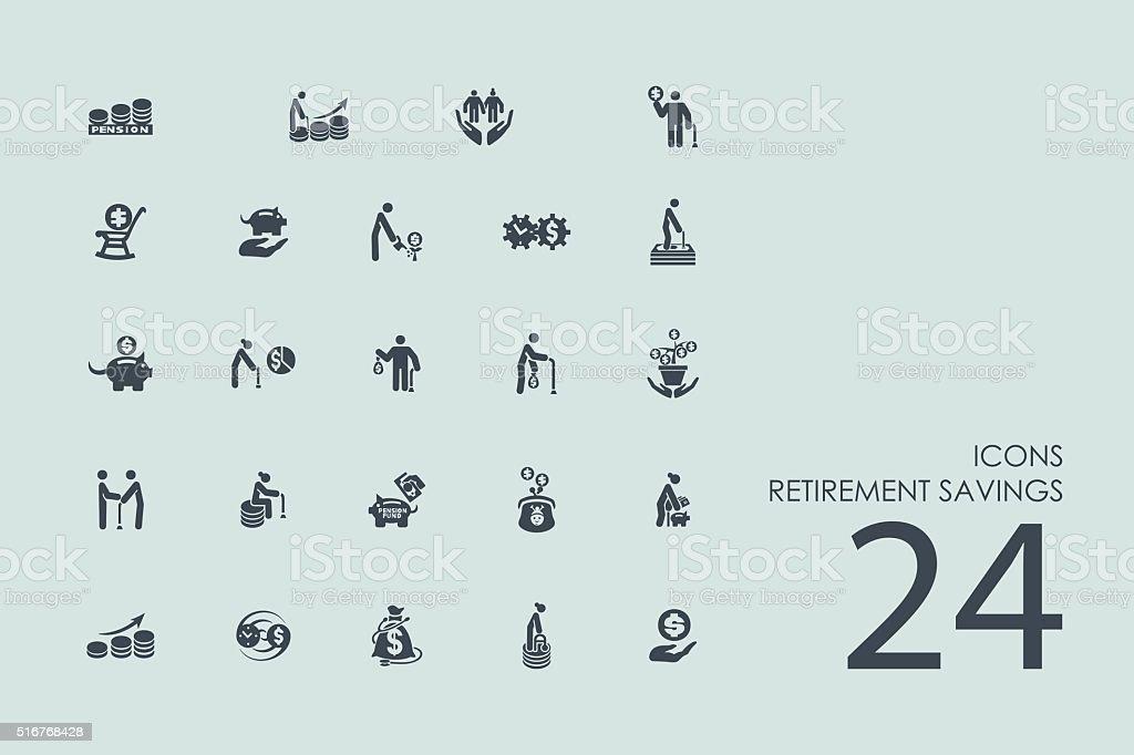 Set of retirement savings icons vector art illustration