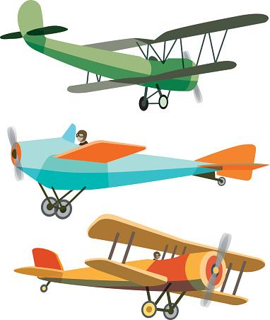 Set of Retro Airplanes