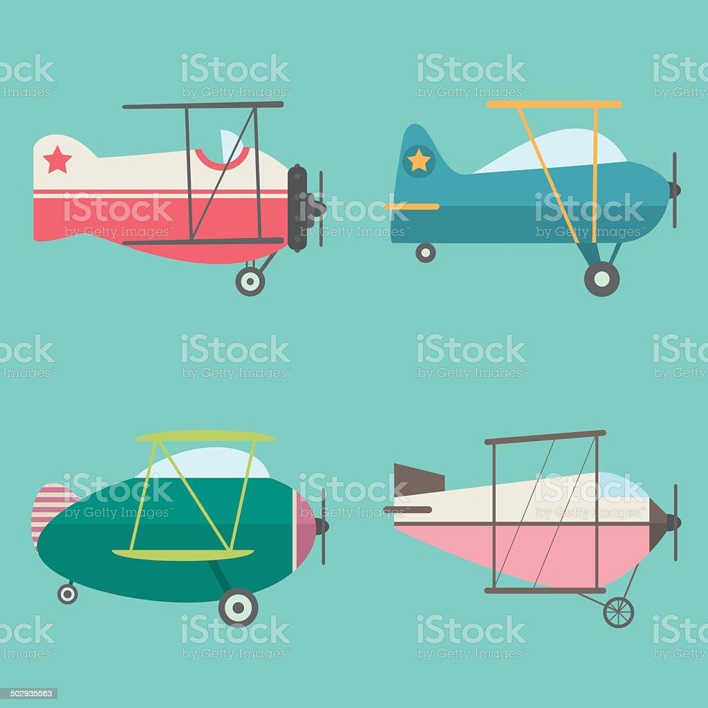 Set of Retro Airplanes royalty-free stock vector art