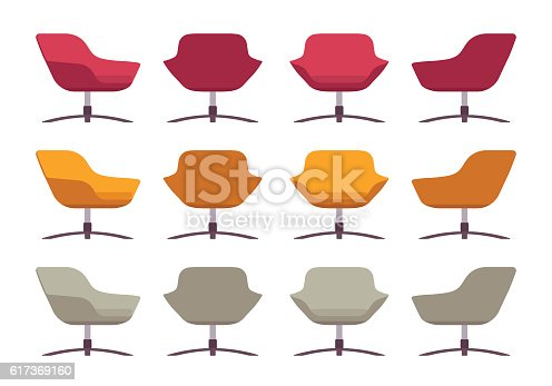 Set of retro armchairs, crimson, orange and grey, isolated against white background. Cartoon vector flat-style illustration