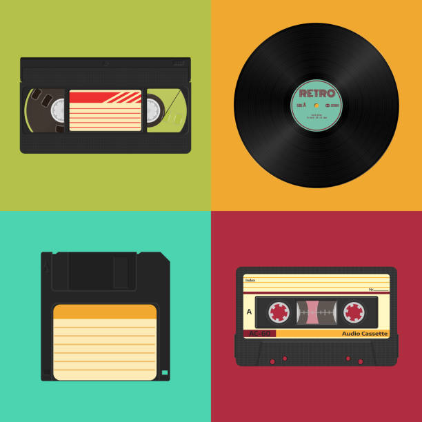 ilustrações, clipart, desenhos animados e ícones de conjunto de armazenamento de áudio, vídeo e dados retrô. áudio, fitas de vídeo, disco de vinil e disquete. - fita cassete