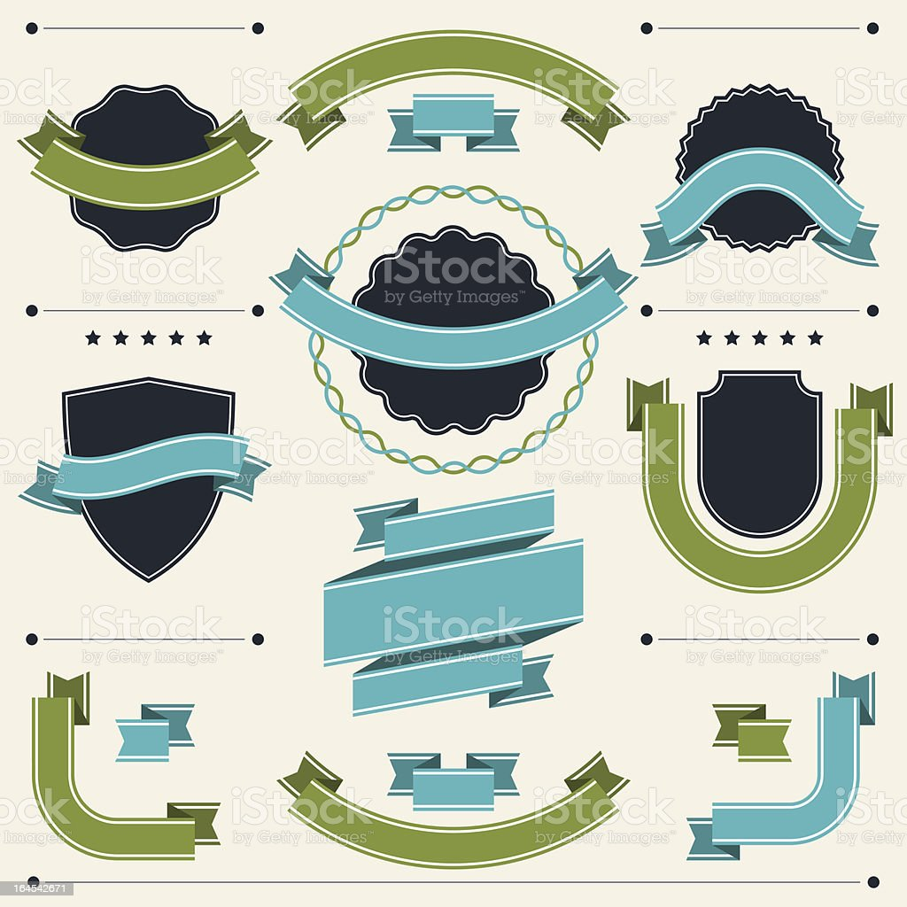 Set of retro badges, labels, ribbons and design elements. royalty-free set of retro badges labels ribbons and design elements stock vector art & more images of badge