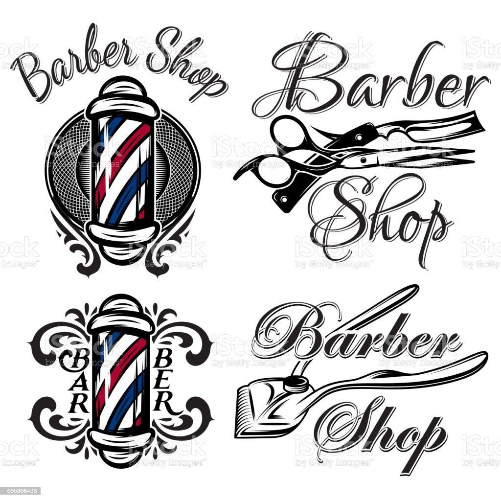 Set of retro barber shop logos. Isolated on the white background vector art illustration