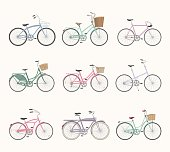 Set of retro bicycles on white background