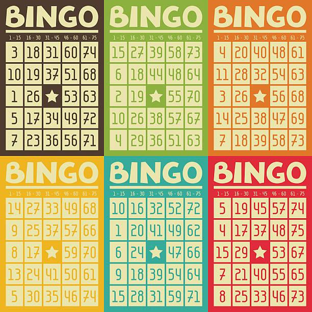 Conjunto de cartões retrô bingo ou Loteria para jogo - ilustração de arte em vetor