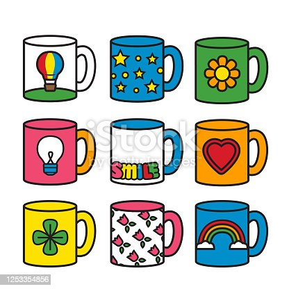 Collection of bright, fun, vintage style office mugs