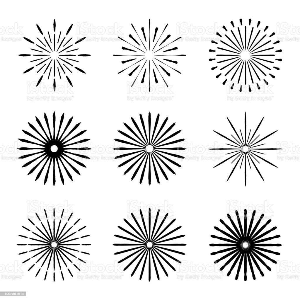 set of retro brush sun burst shapes vintage logo labels badges Beam Straps vintage logo labels badges vector
