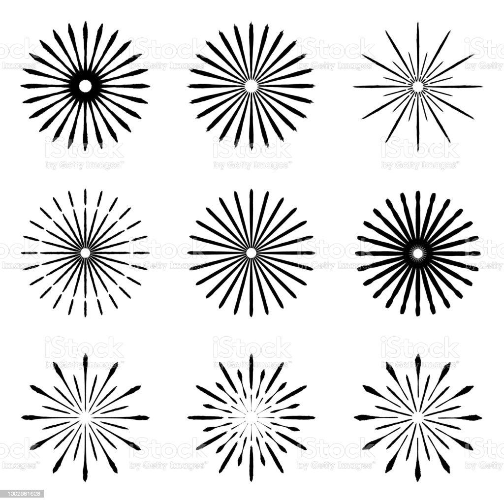 set of retro brush sun burst shapes vintage logo labels badges I- Joist vintage logo labels badges vector design element isolated minimal black firework burst illustration