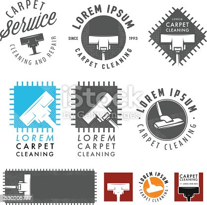 istock Set of retro carpet cleaning labels, emblems and design elements 530205777