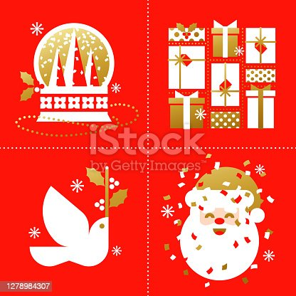 Set of retro Christmas cards with snow globe, holiday gifts, white dove and cute Santa Claus