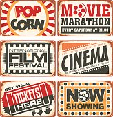 Set of retro cinema tin signs