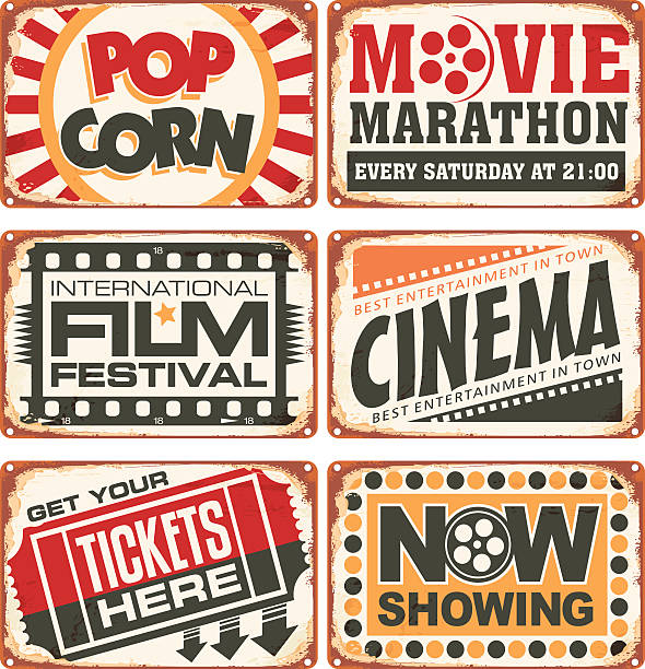 set of retro cinema tin signs - 1940s style stock illustrations
