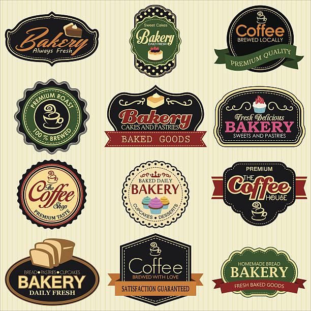 Satz von retro Bäckerei Etiketten, Bänder und Kaffee – Vektorgrafik