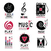 Set of retro Collection of music logo