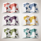 Set of retro colored Maps the World