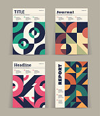 Set of retro covers. Collection of cool vintage covers. Abstract shapes compositions. Vector.