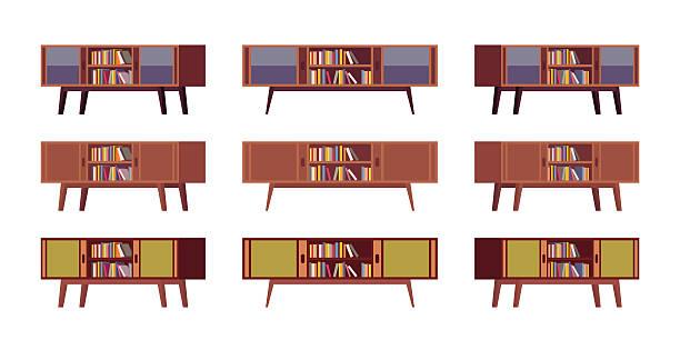 ilustrações de stock, clip art, desenhos animados e ícones de set of retro credenzas with bookshelves - sideboard