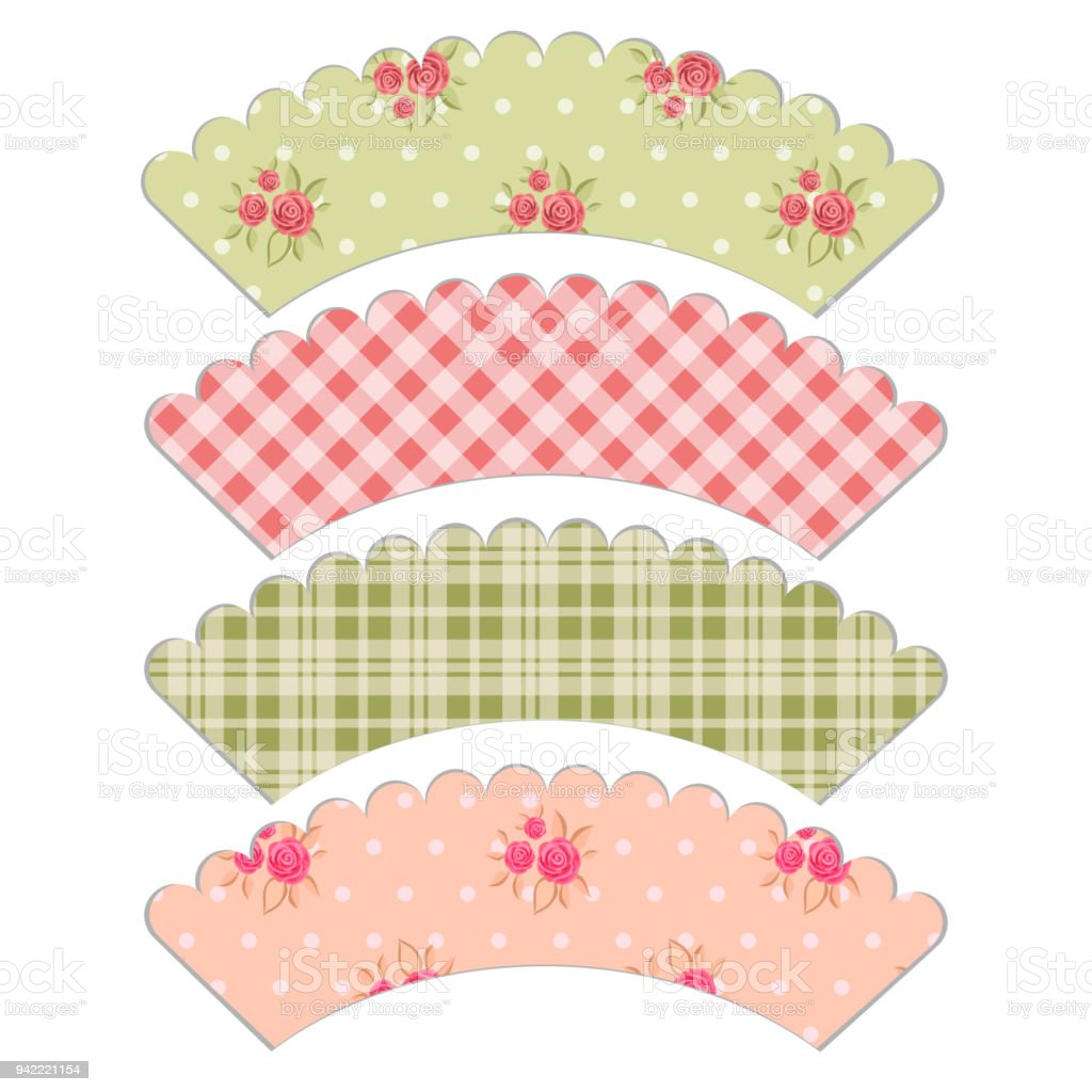 Set Of Retro Cupcake Wrapper Templates In Shabby Chic Style Stock ...
