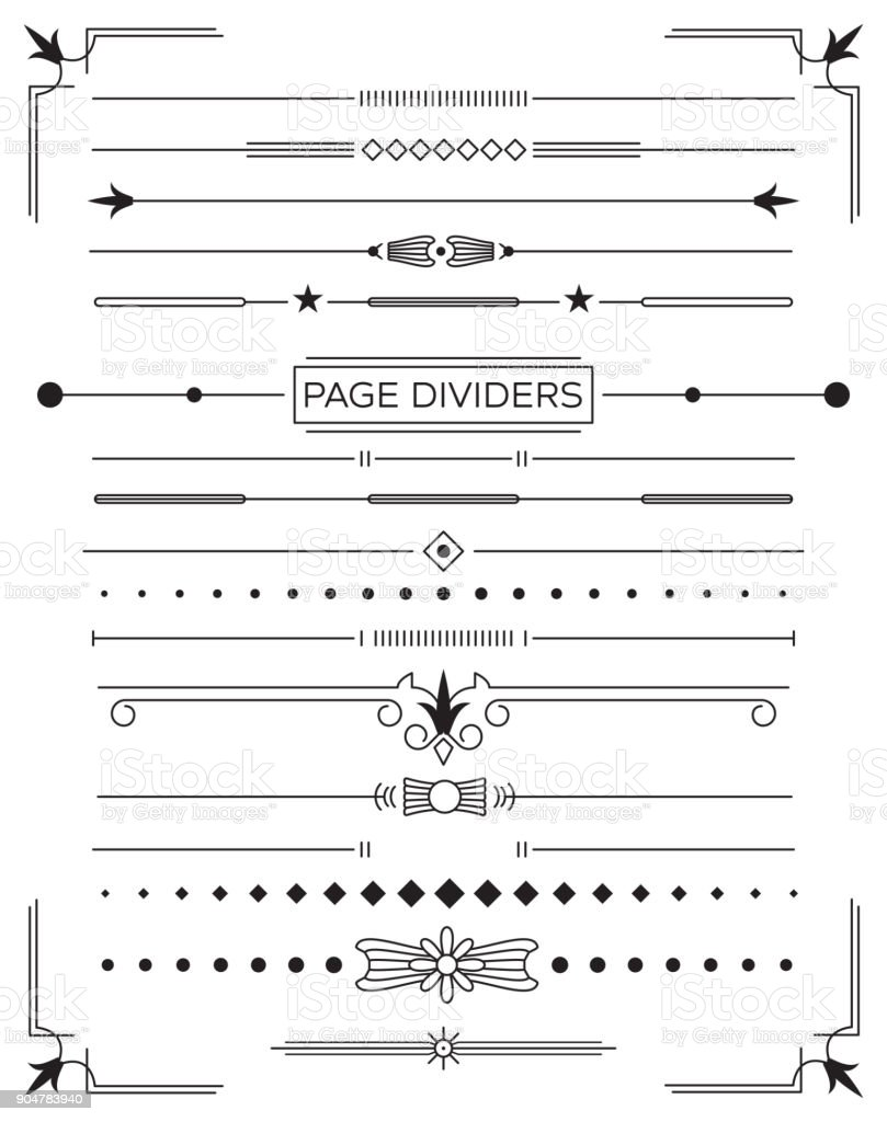 Set of Retro Decorative Page Dividers and Design Elements. vector art illustration