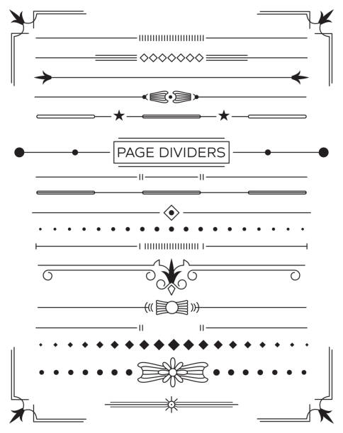 set of retro decorative page dividers and design elements. - виньетка stock illustrations