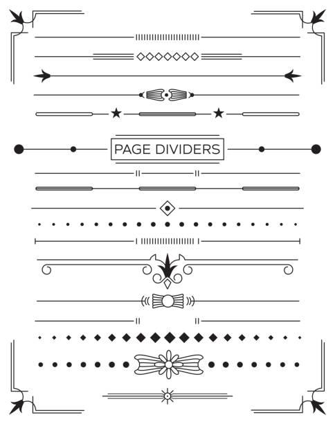 Ensemble de diviseurs de Page décoration rétro et éléments de conception. - Illustration vectorielle