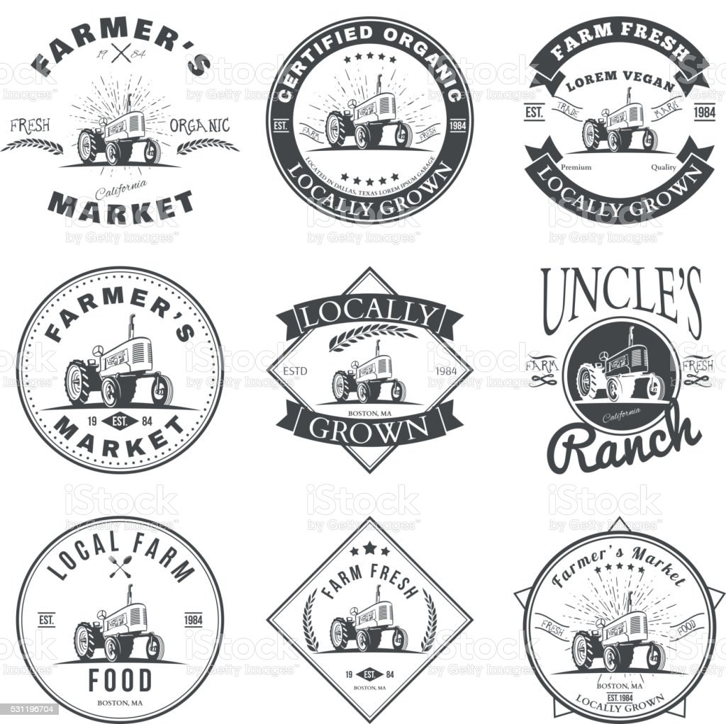 Set of retro farm fresh labels, badges and design elements vector art illustration