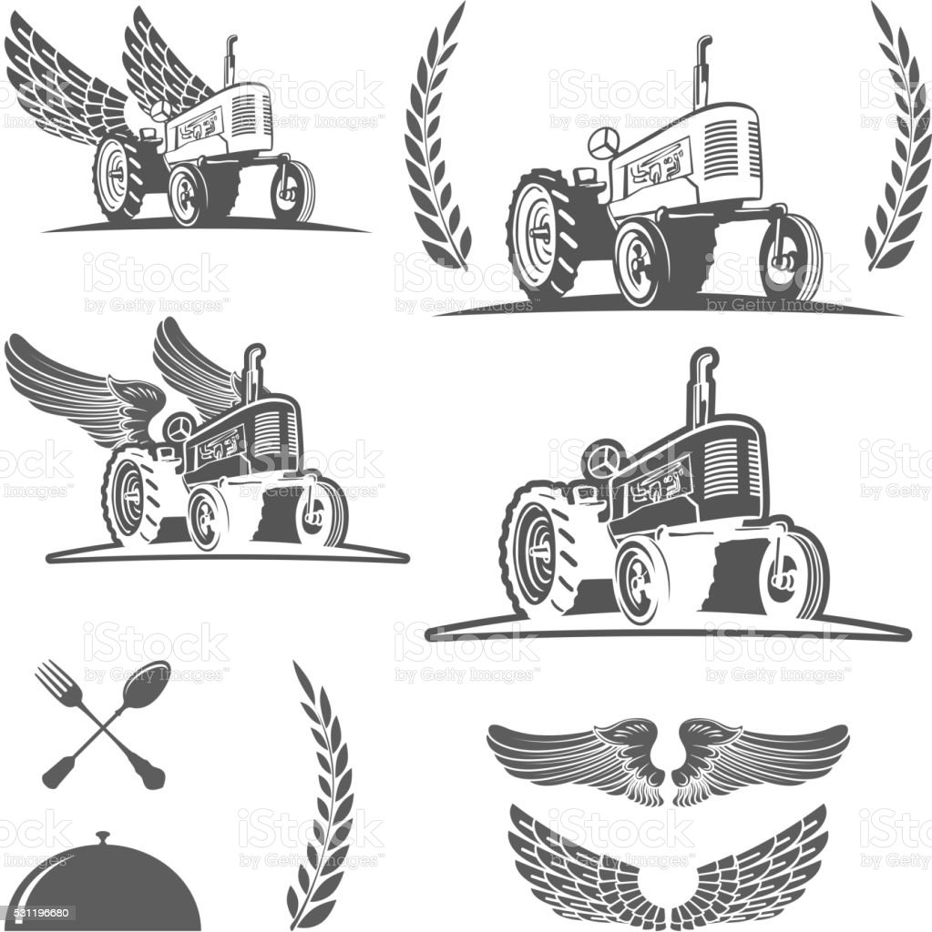 Set of retro farm tractor design, badges and design elements vector art illustration