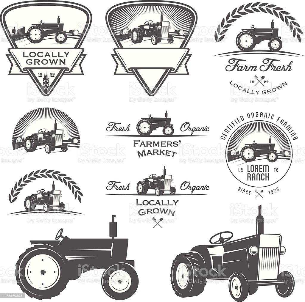 Set of retro farming labels, badges and design elements royalty-free stock vector art