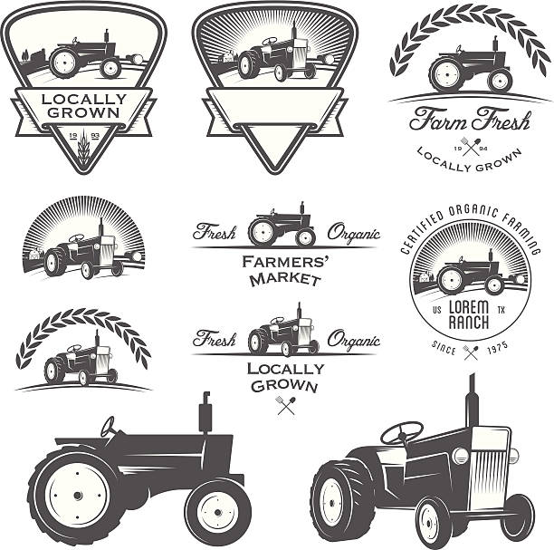 Set of retro farming labels, badges and design elements Set of retro farming labels, badges and design elements. community borders stock illustrations