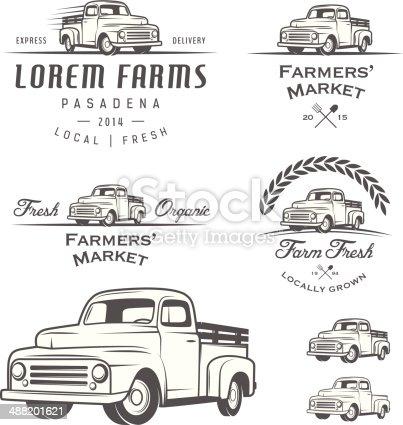 istock Set of retro farming labels, badges and design elements 488201621