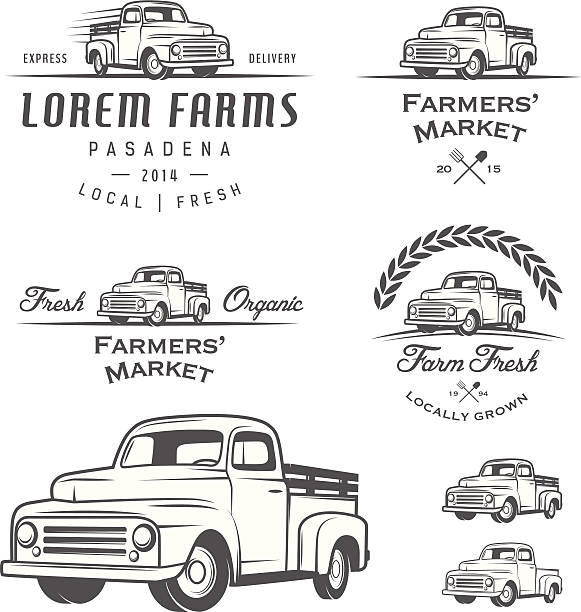 bildbanksillustrationer, clip art samt tecknat material och ikoner med set of retro farming labels, badges and design elements - truck