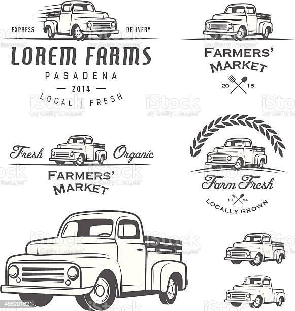 Set of retro farming labels, badges and design elements.