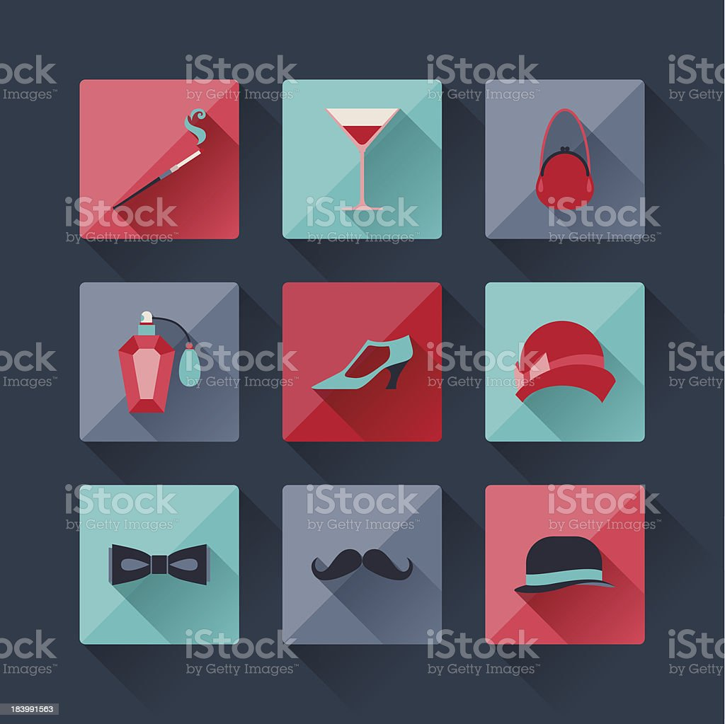 Set of retro fashion icons in flat design style. royalty-free set of retro fashion icons in flat design style stock vector art & more images of 1920-1929