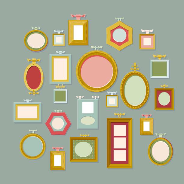 Set of Retro Frames vector art illustration