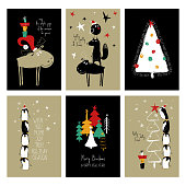 Set of Christmas greeting cards. Funny hand drawn retro grunge cards with tree, deer, fox and cute penguins.