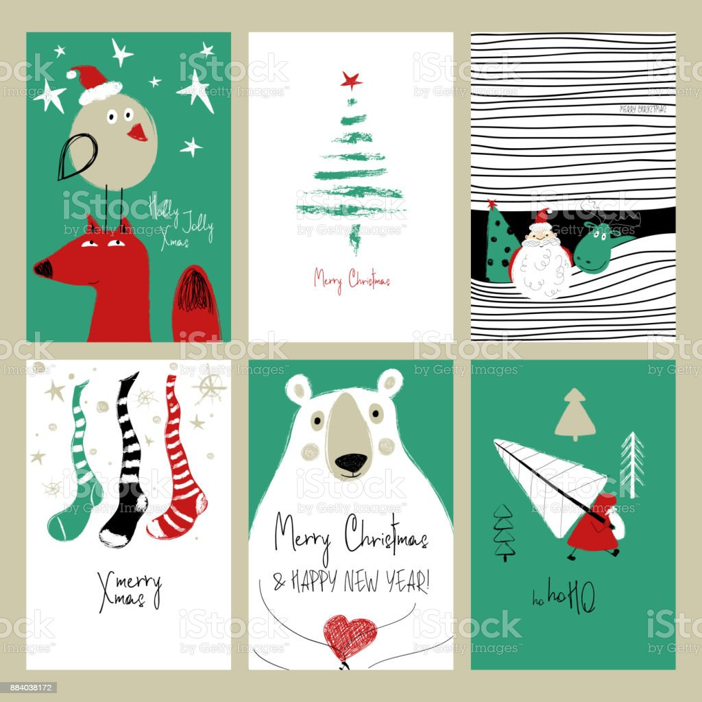 Set Of Retro Funny Christmas Cards Stock Vector Art More Images Of