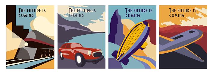 Set of Retro Futurism poster designs