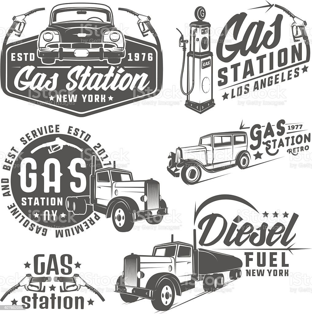 Set of retro gas station car and design elements ,emblems vector art illustration