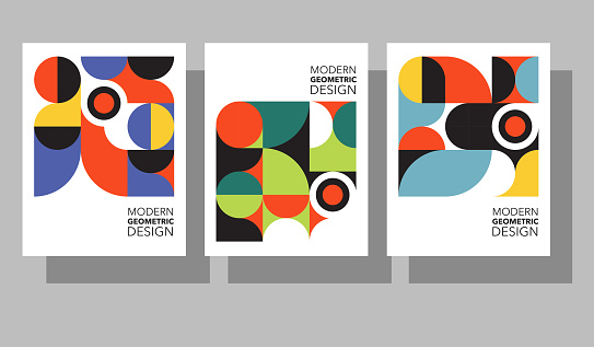 Set of retro geometric graphic design covers. Cool Bauhaus style compositions. Eps10 vector.