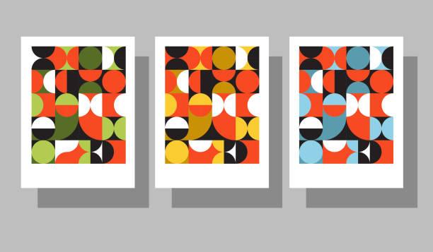 illustrations, cliparts, dessins animés et icônes de ensemble de couvertures graphiques géométriques rétro. cool compositions de style bauhaus. vecteur eps10. - motifs et arrière-plans