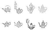 Set of retro hand drawn teapots, great design for any purposes. Teapot hand drawn in chinese style on white background. Retro collection. Kettle icon big set. Isolated vector design.