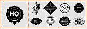 Set of vintage hipster labels on grungy card