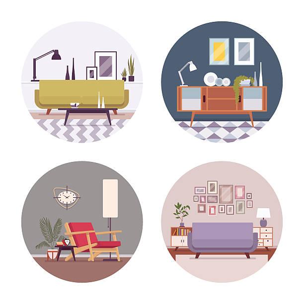 ilustrações de stock, clip art, desenhos animados e ícones de set of retro interiors in a circle - sideboard