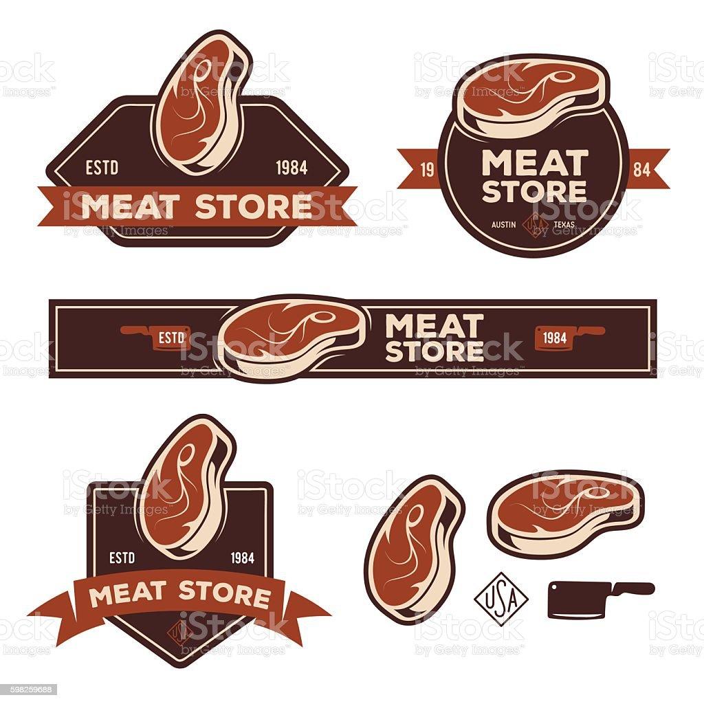 Set of retro labels badges emblems for meat store or vector art illustration