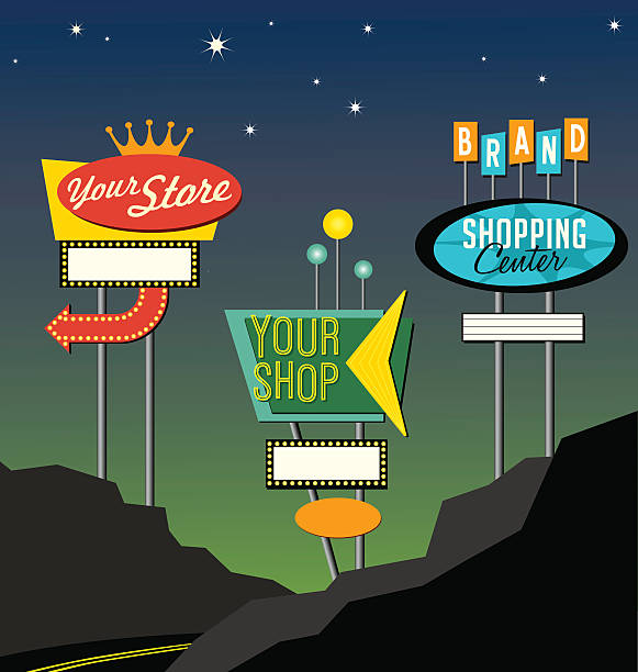 set of retro lighted roadside signs. edit for your design. - 1950s style stock illustrations, clip art, cartoons, & icons